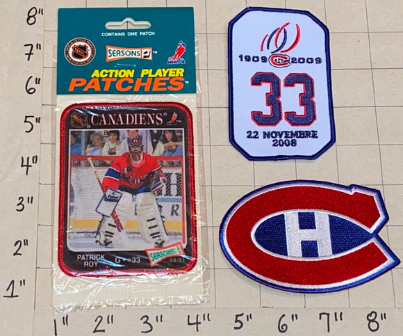 1992-93 PATRICK ROY #33 ACTION PLAYER MONTREAL CANADIENS NHL HOCKEY PATCH LOT