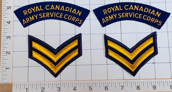 4 ROYAL CANADIAN ARMY SERVICE CORPS CHEVRON CREST EMBLEM PATCH LOT