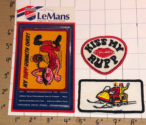 3 RARE RUPP VINTAGE 70'S LEMANS SNOWMOBILE SKI DOO KISS MY RUPP CREST PATCH LOT