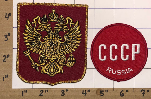 2 RUSSIA HOCKEY WINTER OLYMPICS JUNIOR HOCKEY EMBLEM CREST PATCH LOT