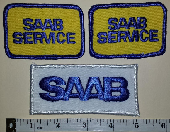 3 VINTAGE SAAB SERVICE LUXURY CAR SWEDEN AUTOMOBILE TRUCK RACING PATCH LOT