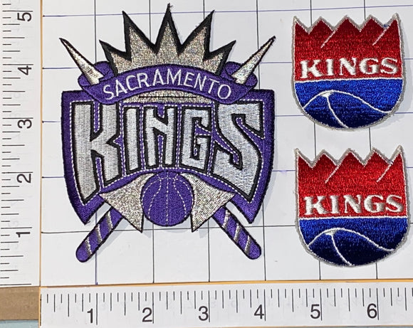 3 SACRAMENTO KINGS NBA BASKETBALL CREST EMBLEM EMBROIDERED PATCH LOT