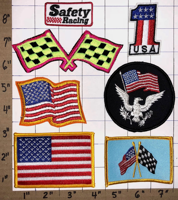 7 RARE USA #1 RACING FLAGS NASCAR RACING NHRA CREST EMBLEM PATCH LOT
