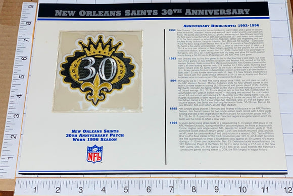 NEW ORLEANS SAINTS 30TH ANNIVERSARY NFL FOOTBALL WILLABEE & WARD STAT & PATCH