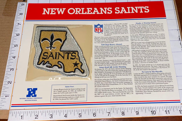 NEW ORLEANS SAINTS NFL FOOTBALL TEAM EMBLEM WILLABEE & WARD INFO STAT & PATCH