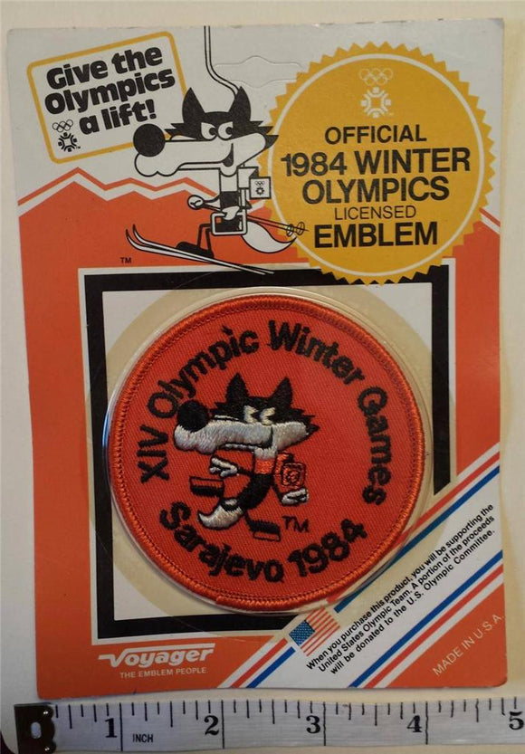 1 VINTAGE 1984 SARAJEVO XIV WINTER OLYMPICS FIGURE SKATING CREST MIP PATCH