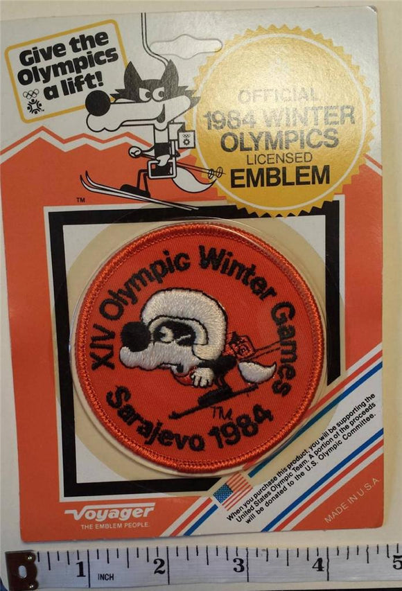 1 VINTAGE 1984 SARAJEVO XIV WINTER OLYMPICS DOWN HIILL SKIING CREST MIP PATCH