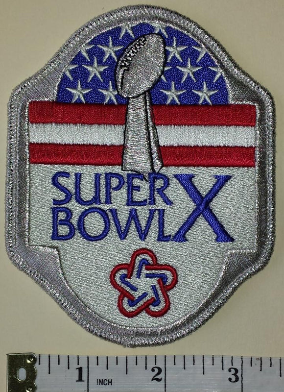 SUPER BOWL X DALLAS COWBOYS vs PITTSBURGH STEELERS NFL FOOTBALL EMBLEM PATCH