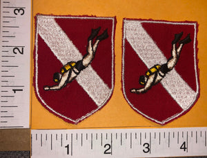2 VINTAGE SCUBA DIVING DIVER SNORKLING EMBLEM CREST PATCH LOT