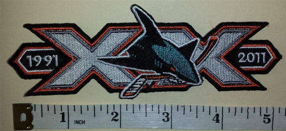 1 SAN JOSE SHARKS 20TH ANNIVERSARY 1901-2011 NHL HOCKEY BADGE CREST PATCH