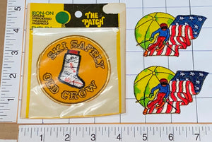 3 VINTAGE OLD CROW SKI SAFETLY SKIING USA DOWNHILL SKIER CREST MIP PATCH LOT