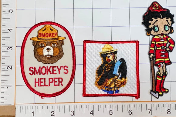 3 VINTAGE SMOKEY THE BEAR FEMALE FIRE FIGHTING BETTY BOOP RANGER PATCH LOT