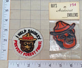 2 VINTAGE SMOKEY THE BEAR FEMALE FIRE FIGHTING FOREST RESCUE RANGER PATCH LOT