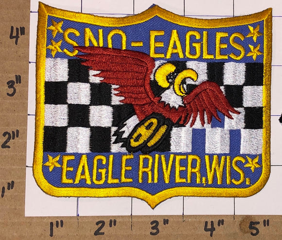 1 SNO EAGLES POWERED ENGINES SLEDDING SNOWMOBILE SNOWMOBILES CLUB CREST PATCH