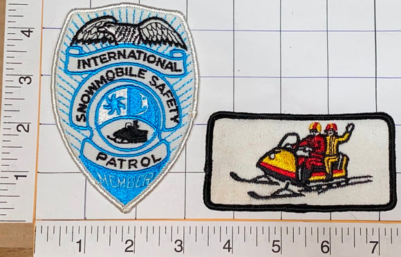 2 VINTAGE INTERNATIONAL SNOWMOBILE SAFETY MEMBER PATROL SKI DOO PATCH LOT