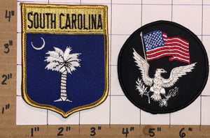 2 SOUTH CAROLINA USA UNITED STATES VOYAGER TRAVEL TOURIST EAGLE CREST PATCH LOT