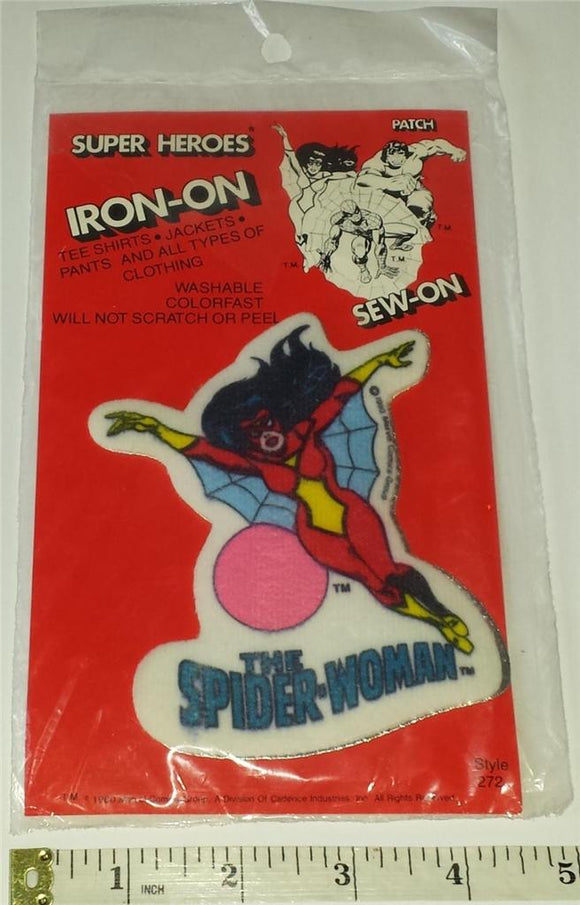 1 RARE VINTAGE 1980 THE SPIDER WOMAN MIP SUPER HEROS MARVEL PATCH EMBLEM CREST