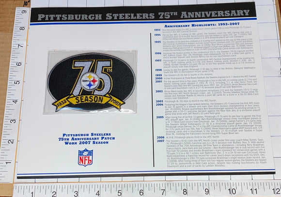 PITTSBURGH STEELERS 75TH ANNIVERSARY NFL FOOTBALL WILLABEE & WARD STAT & PATCH
