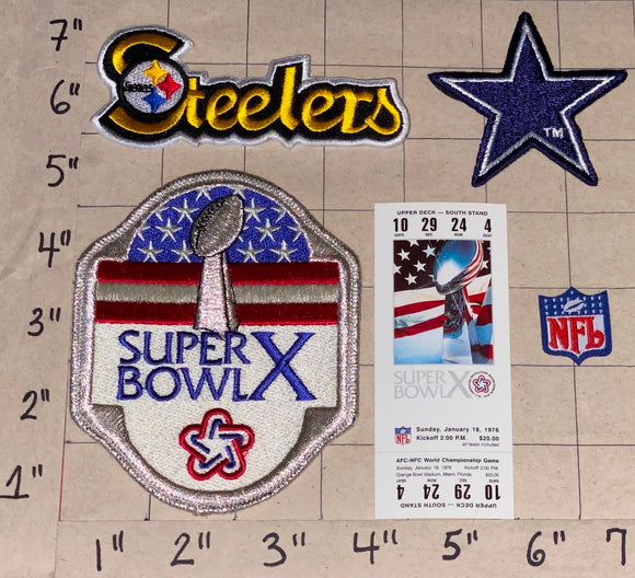 PITTSBURGH STEELERS vs COWBOYS SUPER BOWL 10 TICKET NFL FOOTBALL PATCH LOT