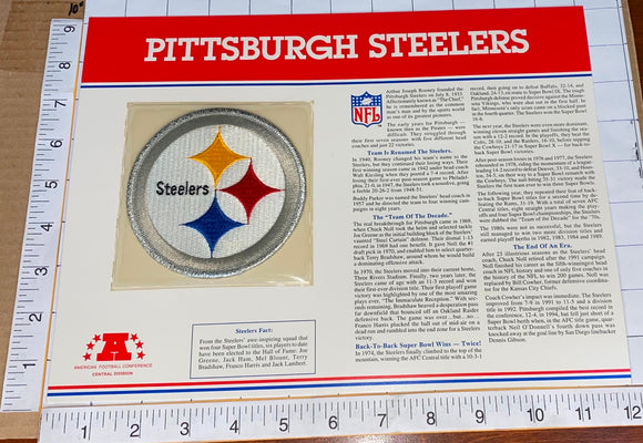 PITTSBURGH STEELERS NFL FOOTBALL TEAM EMBLEM WILLABEE & WARD INFO STAT & PATCH