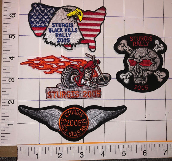 4 STURGIS 2005 BLACK HILLS RALLY MOTORCYCLE EAGLE PATCH LOT