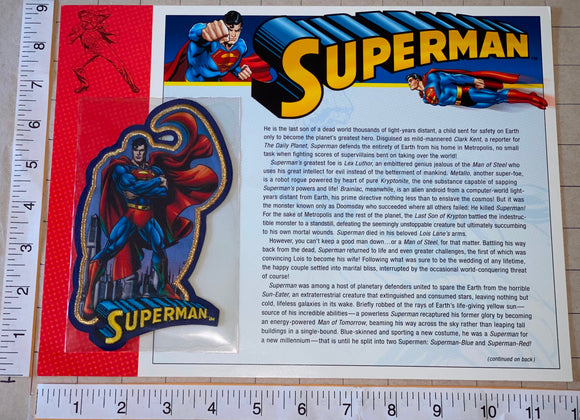 SUPERMAN DC COMICS SUPERHERO WILLABEE & WARD MAN OF STEEL EMBLEM PATCH