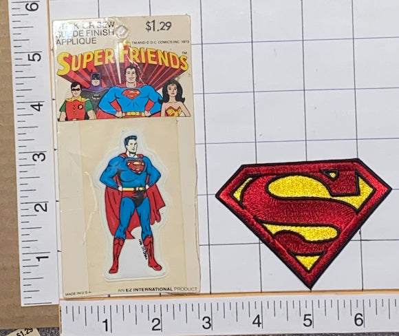 1973 DC COMICS USA AMERICAN SUPERMAN SUPER MAN SUPER HERO PATCH LOT MIP
