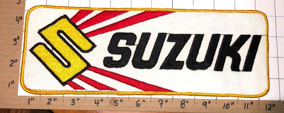 1 HUGE VINTAGE SUZUKI MOTORCROSS MOTORCYCLE OFF ROAD CREST EMBLEM PATCH
