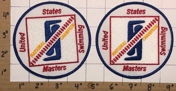 2 UNITED STATES SWIMMING MASTERS NATIONAL CHAMPION CREST EMBLEM PATCH LOT