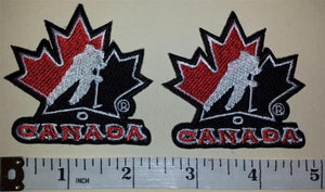 2 TEAM CANADA IIHF WORLD JUNIOR CHAMPIONSHIP HOCKEY EMBLEM CREST BLACK PATCH LOT
