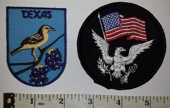 2 TEXAS USA UNITED STATES PATRIOTIC VOYAGER TRAVEL TOURIST EAGLE CREST PATCH
