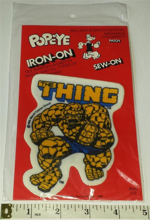 1 RARE VINTAGE 1980 THE THING MIP SUPER HEROS MARVEL PATCH EMBLEM CREST