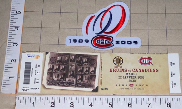 2008 BOSTON BRUINS vs MONTREAL CANADIENS CENTENNIAL NHL HOCKEY PATCH & TICKET