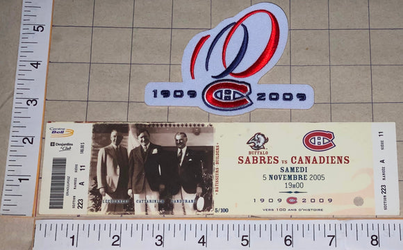 2005 BUFFALO SABRES vs MONTREAL CANADIENS CENTENNIAL NHL HOCKEY PATCH & TICKET