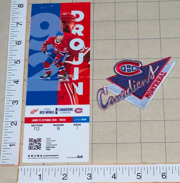 2018 DETROIT RED WINGS vs MONTREAL CANADIENS NHL HOCKEY PATCH & TICKET