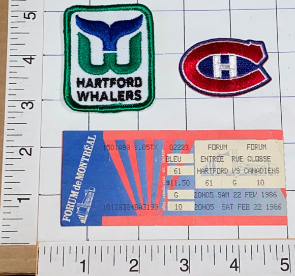 1986 NHL HOCKEY TICKET HARTFORD WHALERS vs MONTREAL CANADIENS + PATCH LOT