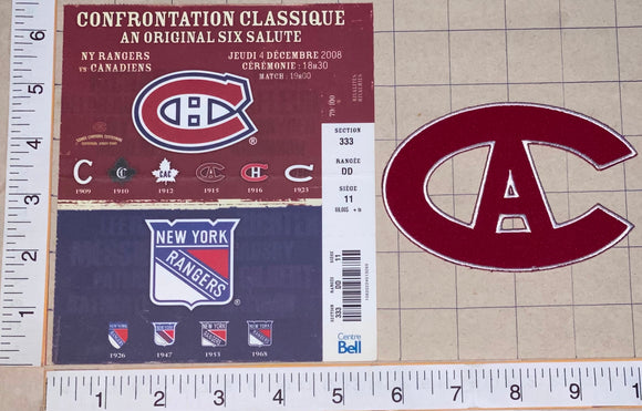 2009 CENTENNIAL NEW YORK RANGERS vs MONTREAL CANADIENS NHL HOCKEY PATCH & TICKET