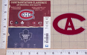 CENTENNIAL MONTREAL CANADIENS vs  TORONTO MAPLE LEAFS NHL HOCKEY PATCH & TICKET