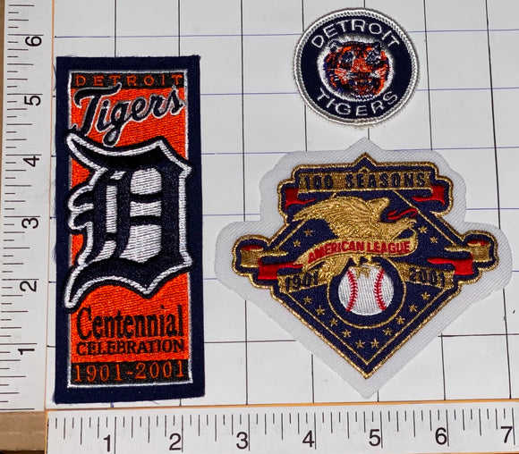 DETROIT TIGERS CENTENNIAL CELEBRATION 1901-2001 AMERICAN MLB BASEBALL PATCH LOT