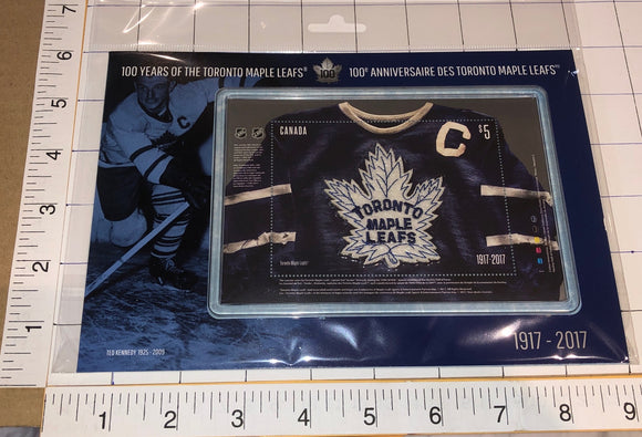 2007 TORONTO MAPLE LEAFS JERSEY 100th ANNIVERSARY CANADA POST 5$ STAMP PATCH MIP