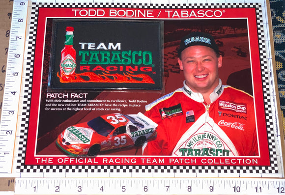 TODD BODINE TEAM TABASCO RACING WILLABEE & WARD NASCAR SPEC SHEET EMBLEM PATCH