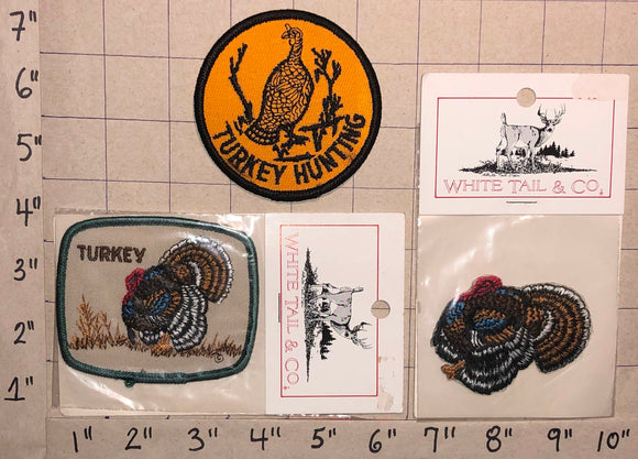 3 VINTAGE 70'S TURKEY HUNTING & SPORTING WILD TURKEY CREST EMBLEM PATCH LOT