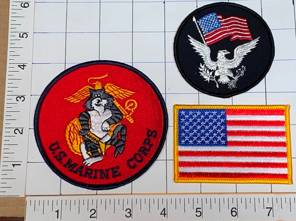 3 UNITED STATES OF AMERICA US MARINE CORPS PATRIOTIC FLAG CREST PATCH LOT