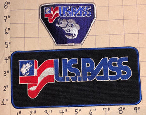 2 US BASS FISHING ANGLING BLACK BASS CREST EMBLEM PATCH LOT