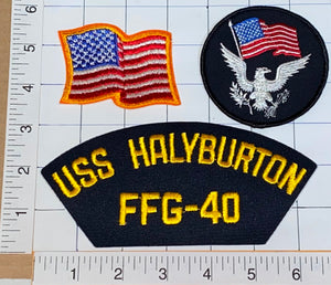 3 USS HALYBURTON FFG-40 PERRY-CLASS FRIGATE PHARMACIST'S MATE CREST PATCH LOT