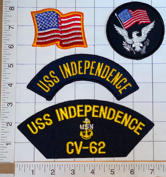 4 RARE USS INDEPENDENCE CV-62 AIRCRAFT CARRIER CREST FREEDOM PATCH LOT