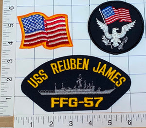 3 RARE USS REUBEN JAMES FFG-57 US NAVY GUIDED MISSILE FRIGATE CREST PATCH LOT