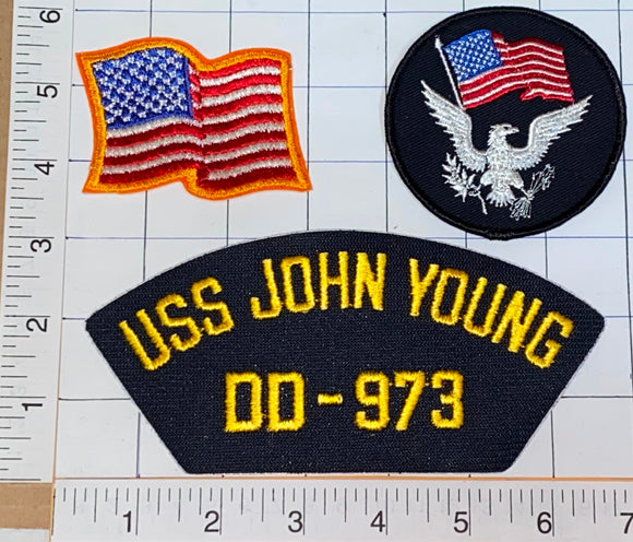 3 RARE USS JOHN YOUNG DD-973 US NAVY SPRUANCE-CLASS DESTROYER CREST PATCH LOT