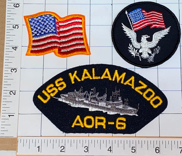 3 RARE USS KALAMAZOO AOR-6 WICHITA-CLASS REPLENISHMENT OILER US NAVY PATCH LOT