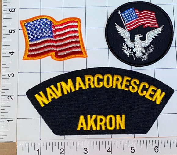 3 RARE NAVMARCORESCEN AKRON NAVY MARINE CORPS US NAVY UNIT CREST PATCH LOT